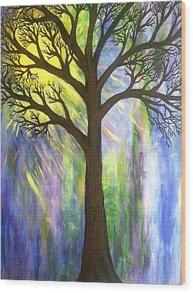 Tree On Blue  Wood Print by Christine Chase