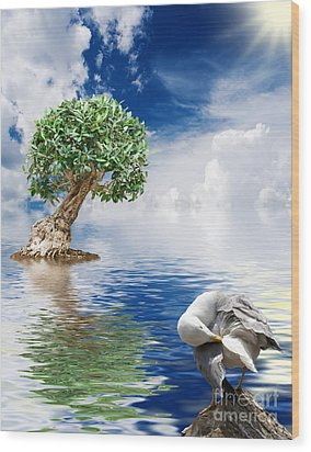 Tree Seagull And Sea Wood Print