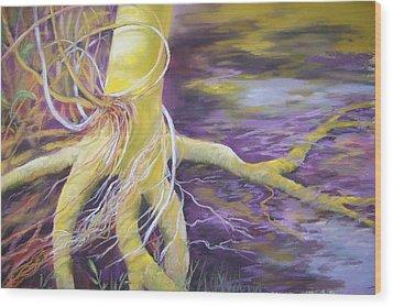 Tree Seeling Water Wood Print by Sheliah Halderman