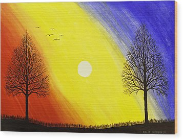 Tree Silhouette At Sunset Painting Wood Print by Keith Webber Jr