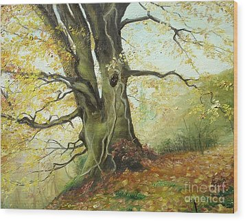 Wood Print featuring the painting Tree by Sorin Apostolescu