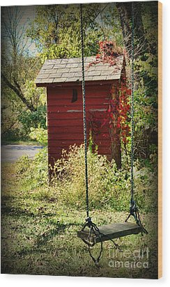 Tree Swing By The Outhouse Wood Print by Paul Ward
