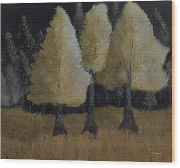 Tree Trio Wood Print by Dick Bourgault