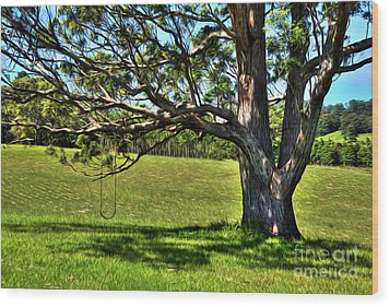 Tree With A Swing Wood Print by Kaye Menner