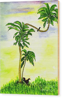 Wood Print featuring the painting Tree With Birds by Mukta Gupta