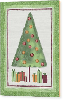 Wood Print featuring the digital art Tree With Presents by Arline Wagner