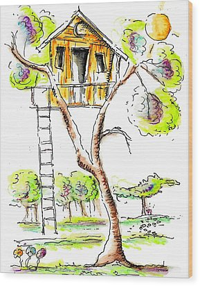 Treehouse Wood Print by Jason Nicholas
