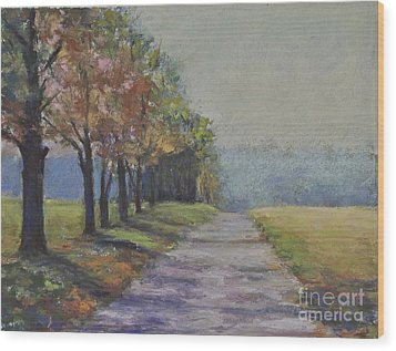 Treelined Road Wood Print by Joyce A Guariglia