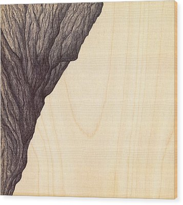 Wood Print featuring the drawing Treerock  by Giuseppe Epifani