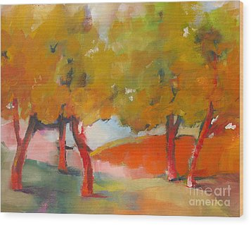 Wood Print featuring the painting Trees #5 by Michelle Abrams