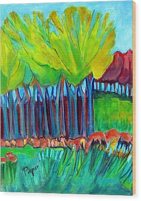 Trees And Meadow Wood Print by Betty Pieper