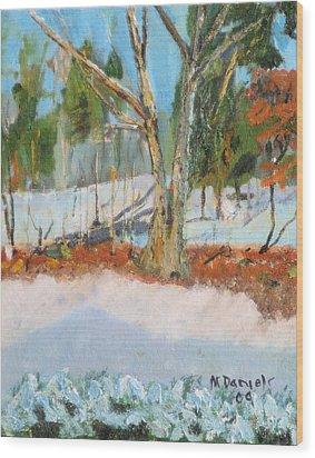 Trees And Snow Plein Air Wood Print by Michael Daniels