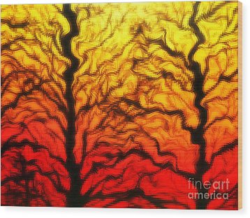 Trees Dancing At Sunset Wood Print by Lorraine Heath
