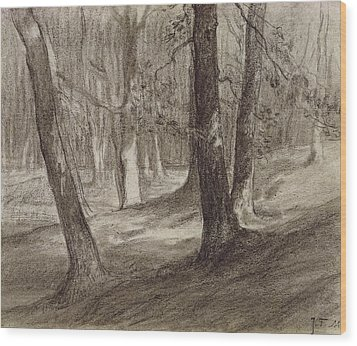 Trees In A Forest Wood Print by Jean-Francois Millet