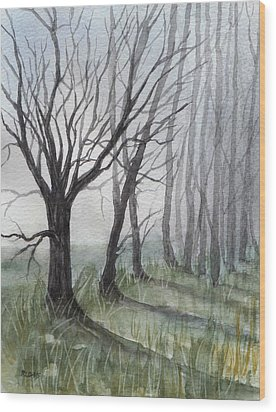 Trees In Fog Wood Print by Rebecca Davis