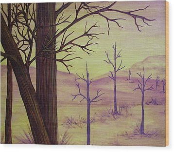 Trees In Gold Landscape Wood Print by Jan Wendt