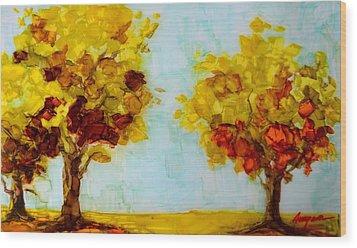 Trees In The Fall Wood Print by Patricia Awapara