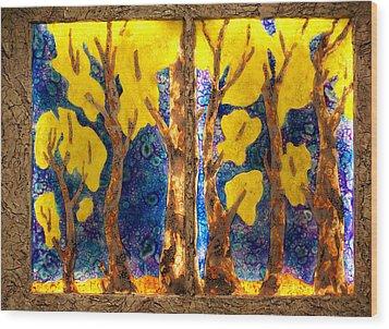 Trees Inside A Window Wood Print
