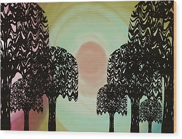 Trees Of Light Wood Print by Christine Fournier
