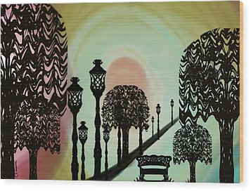 Trees Of Lights Wood Print by Christine Fournier