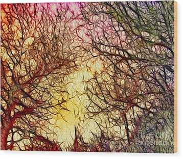 Trees Of The Four Seasons Wood Print by Kaye Menner