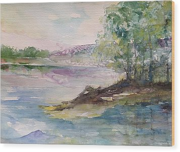 Trees On Water's Edge Wood Print by Robin Miller-Bookhout