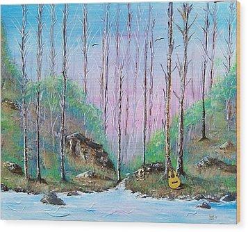 Trees With Cuatro Wood Print by Tony Rodriguez