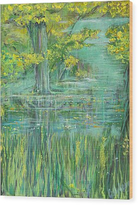 Wood Print featuring the painting Treeversable by Cathy Long