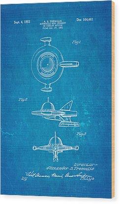 Tremulis Spaceship Hood Ornament Patent Art 1951 Blueprint Wood Print by Ian Monk