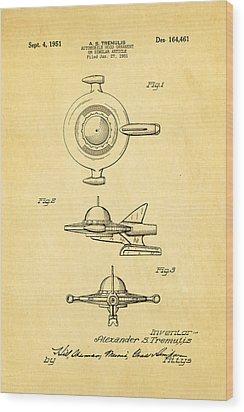 Tremulis Spaceship Hood Ornament Patent Art 1951 Wood Print by Ian Monk