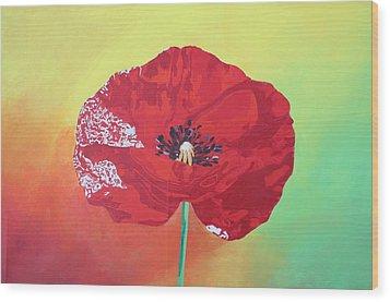 Trendy Poppy  Wood Print by Tracey Harrington-Simpson
