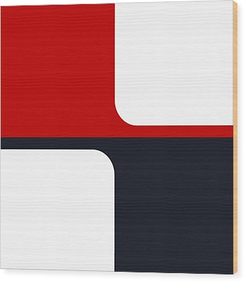 Wood Print featuring the digital art Trendy White Red And Navy Graphic Color Blocks by Tracie Kaska
