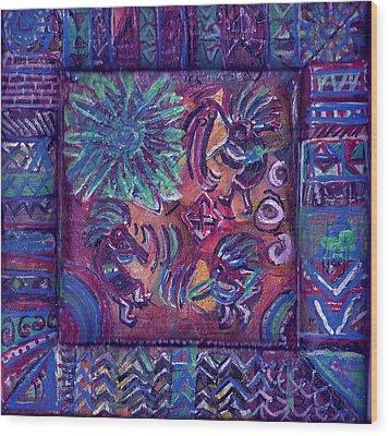Tres Amigos Kokopellis Wood Print by Anne-Elizabeth Whiteway