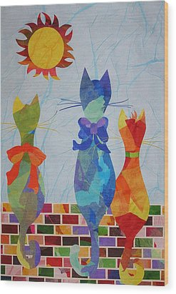 Wood Print featuring the mixed media Tres Gatos by Diane Miller
