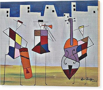 Tres Musicians Wood Print by Lew Griffin