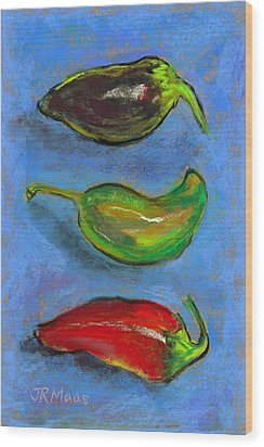 Tres Peppers Wood Print