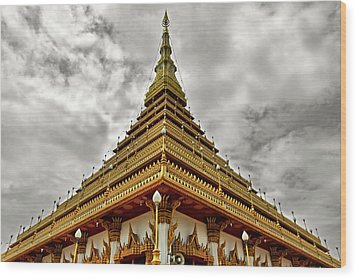Triangle Pagoda Wood Print by Suradej Chuephanich
