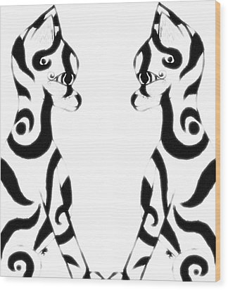 Tribal Black Cats On White Wood Print by Josephine Ring