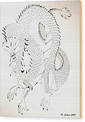 Wood Print featuring the drawing Tribal Dragon by Wendy Coulson