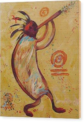 Tribal Ethnic My Red Kokopelli Wood Print