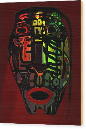 Tribal Mask Wood Print by Natalie Holland