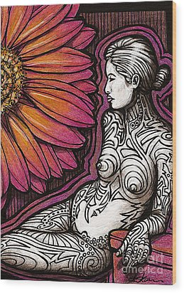 Tribal Tat Nude Wood Print by Dorinda K Skains