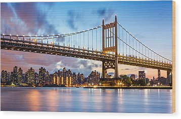 Triboro Bridge At Dusk Wood Print
