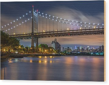 Wood Print featuring the photograph Triboro Bridge by Mihai Andritoiu