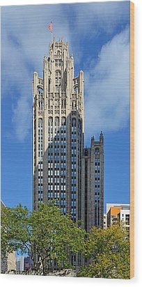 Tribune Tower Chicago - History Is Part Of The Building Wood Print by Christine Till