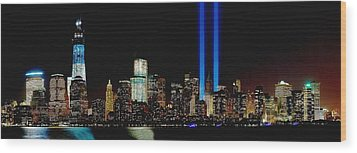 Tribute In Light Memorial Wood Print by Nick Zelinsky