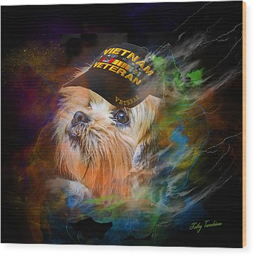 Wood Print featuring the digital art Tribute To Canine Veterans by Kathy Tarochione