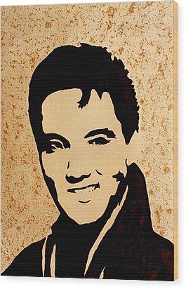 Tribute To Elvis Presley Wood Print by Georgeta  Blanaru
