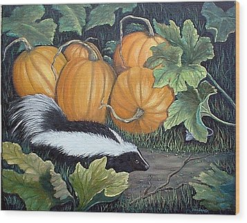 Wood Print featuring the painting Trick Or Treat by Fran Brooks
