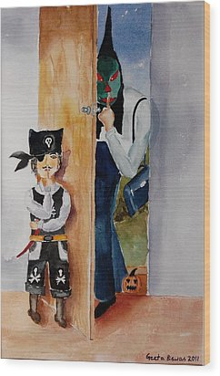 Trick-or-treat Wood Print by Geeta Biswas